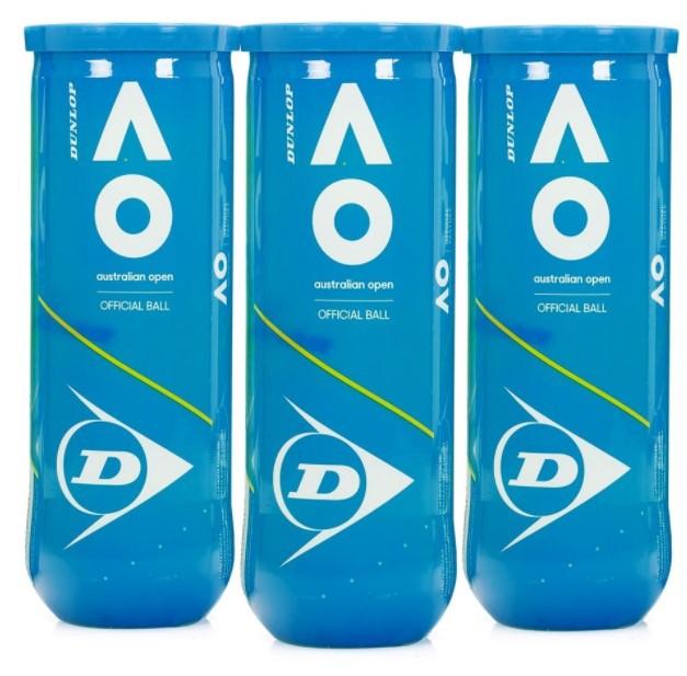 Bola de Tênis Dunlop  Australian Open C/ 3 Tubos  - REAL ESPORTE