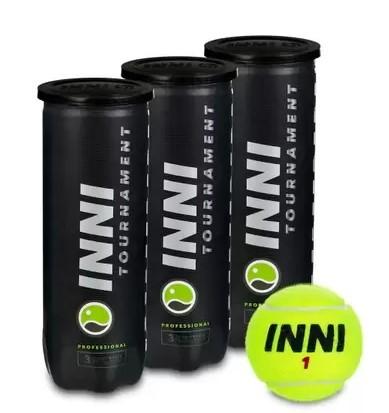 Bola de Tenis Inni Tournament -  Pack c/ 3 tubos  - REAL ESPORTE