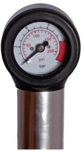 Bomba Mini Kode Alumínio C/Mano Telescopia - Preto/Prata  - REAL ESPORTE