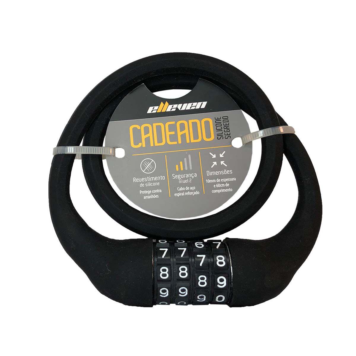 Cadeado Elleven Silicone Lock 10x60cm Com Segredo  - REAL ESPORTE