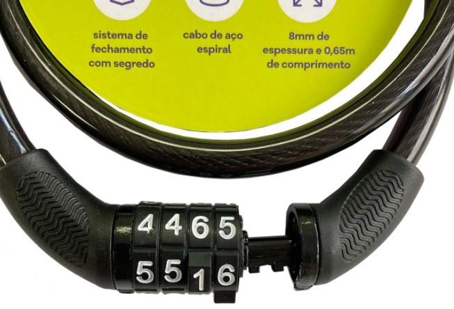 Cadeado Segredo Espiral Elleven 8mmX0,65m - Preto  - REAL ESPORTE