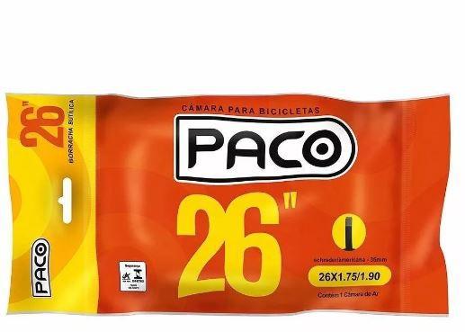 Camara De Ar Bike Aro 26 - Bico Grosso 35mm - Paco Prime    - REAL ESPORTE