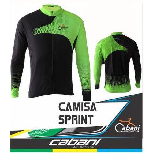 Camisa de Ciclismo Cabani Sprint - Preto/Verde (Manga Longa)  - REAL ESPORTE