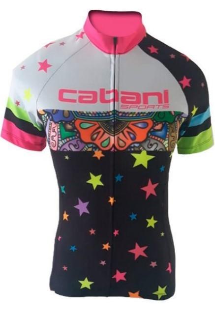 Camisa de Ciclismo Cabani Athena - Preto/Branco (Manga Curta)   - REAL ESPORTE