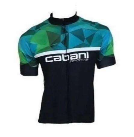 Camisa de Ciclismo Cabani Full - Preto/Verde (Manga Curta)   - REAL ESPORTE