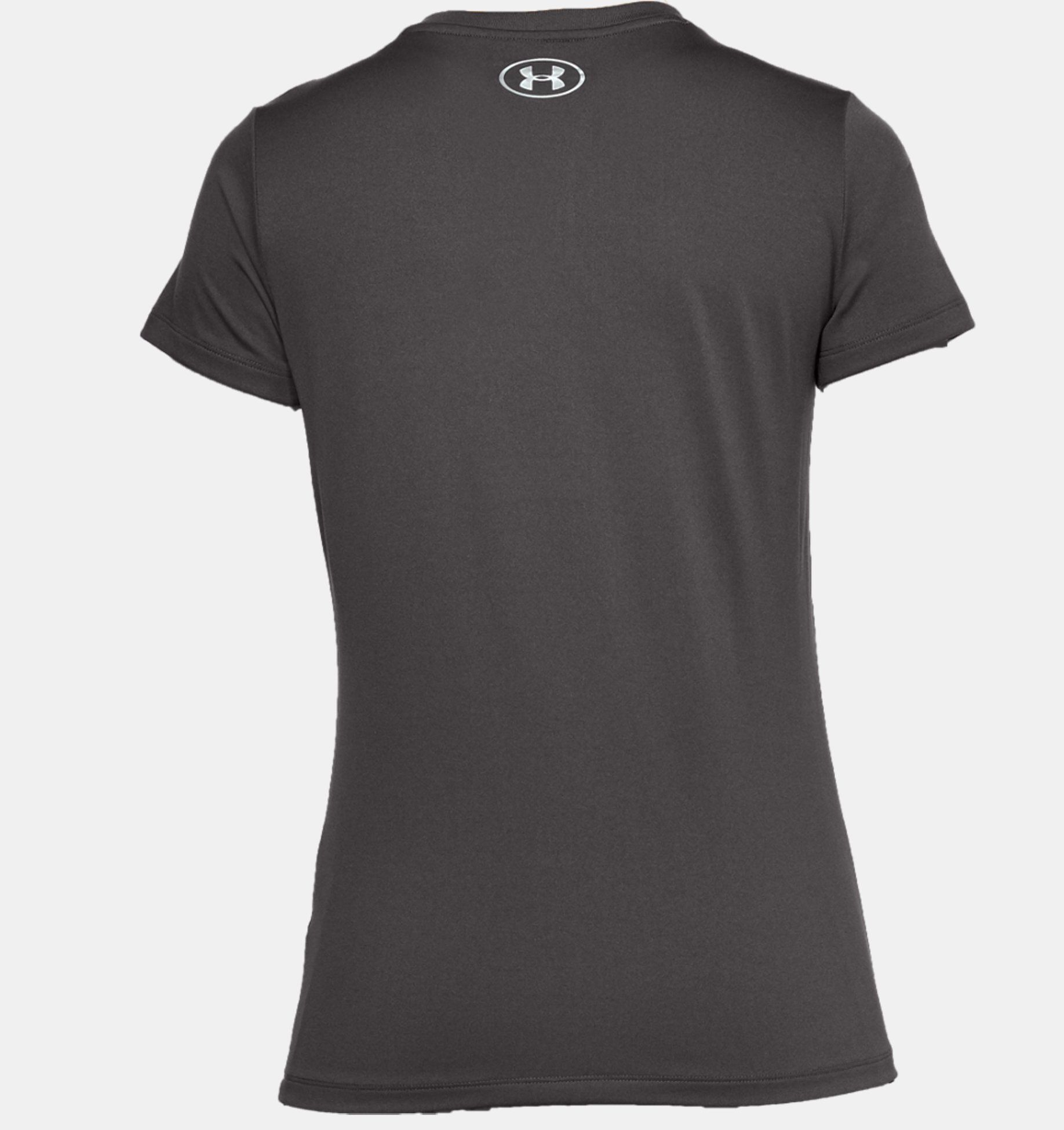 Camiseta Feminina  Under Armour Gola V Tech Metallic Graphic – Cinza  - REAL ESPORTE