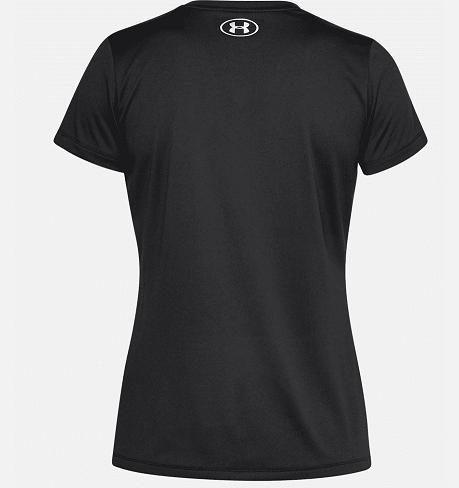 Camiseta Feminina  Under Armour Gola V Tech Metallic Graphic – Preta  - REAL ESPORTE