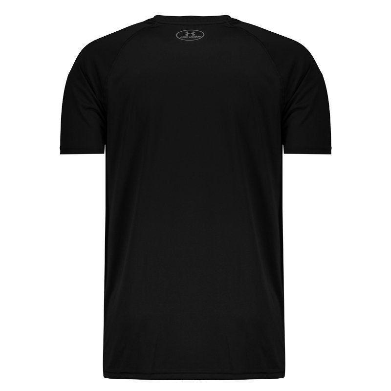Camiseta Under Armour Big Logo Preta e Branca  - REAL ESPORTE