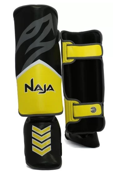 Caneleira Muay Thai Naja New Extreme - Amarelo  - REAL ESPORTE