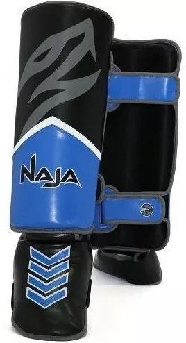 Caneleira Muay Thai New Extreme Naja - Preto e Azul  - REAL ESPORTE