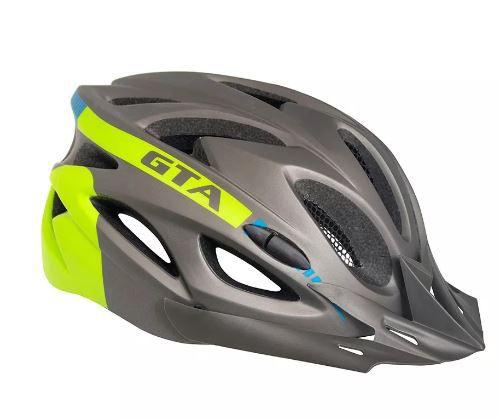 Capacete Ciclismo Bike  Gta - Cinza e Verde Limão  - REAL ESPORTE