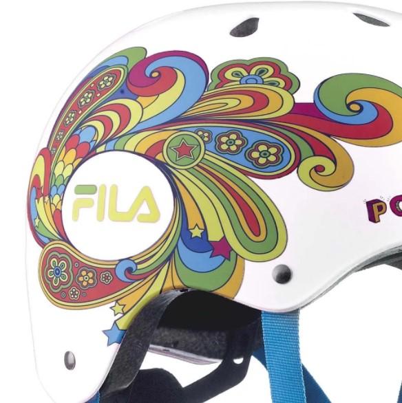 Capacete Fila Bella Helmet - Branco/Colorido  - REAL ESPORTE