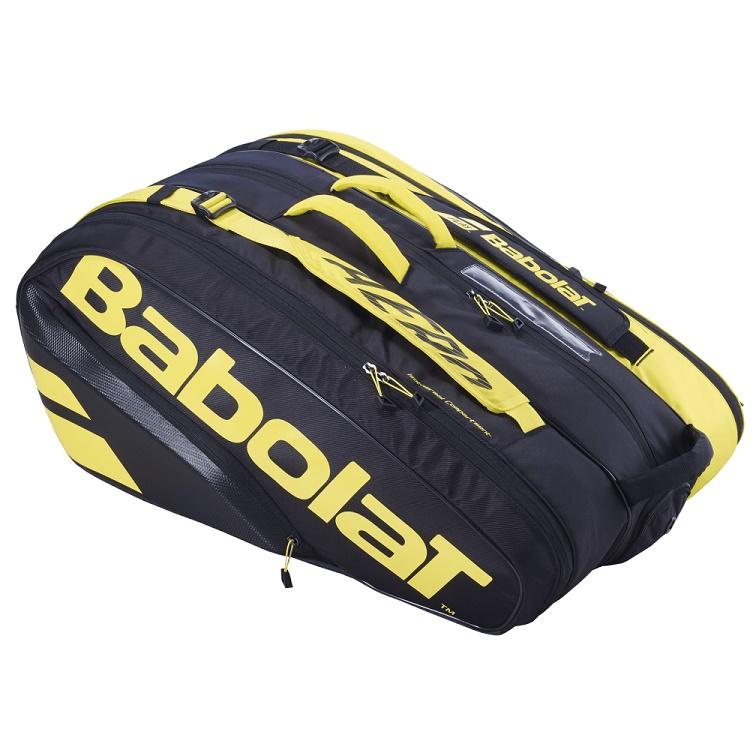Raqueteira Babolat Holder X12 Pure Aero - Preta e Amarelo TÉRMICA  - REAL ESPORTE