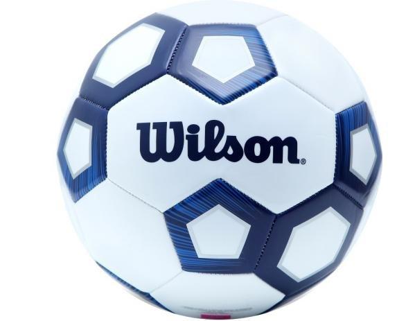 Bola de Futebol de Campo Wilson Pentagon Azul e Branco  - REAL ESPORTE