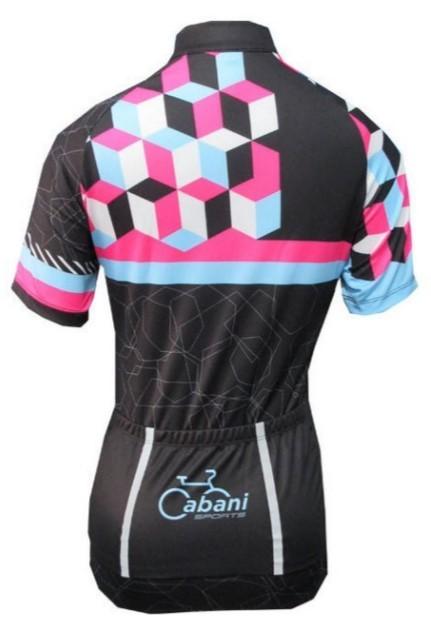 Camisa de Ciclismo Cabani Lady - Preto/Rosa (Manga Curta)  - REAL ESPORTE