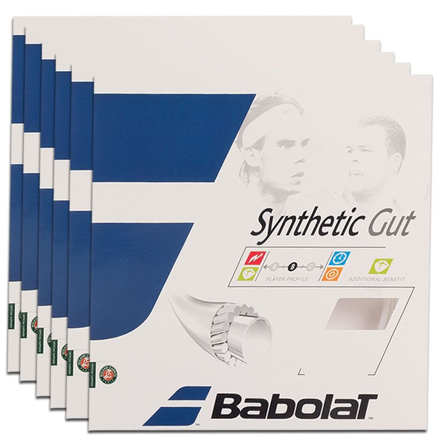 Corda Babolat Synthetic Gut 16 1.30 mm 11,75m Natural - Pack C/ 6 Sets  - REAL ESPORTE