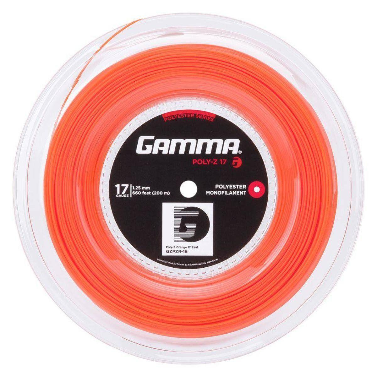 Rolo Corda Gamma Poly Z 17L 1.25mm Laranja  com 200 Metros  - REAL ESPORTE