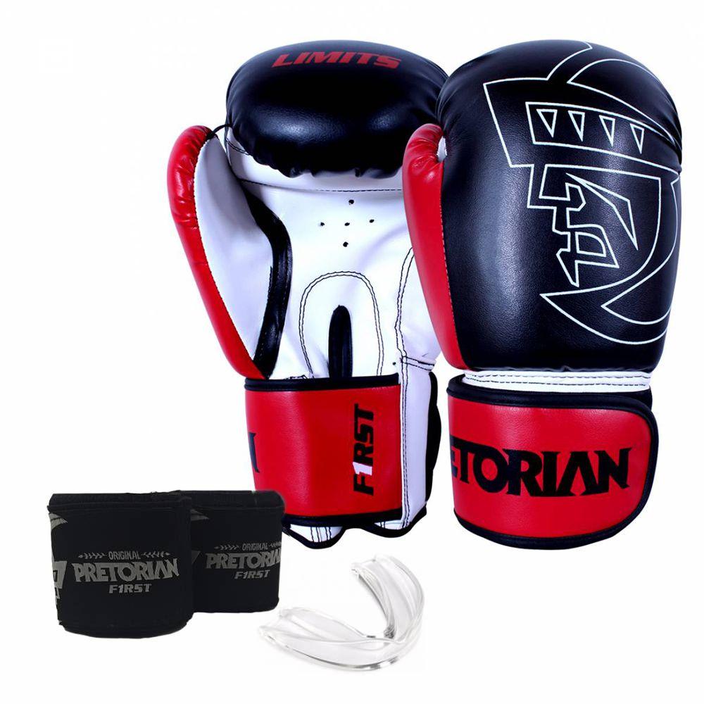 Kit Luva de Boxe/Muay Thai Pretorian First Preto Vermelho + Bandagem + Protetor bucal   - REAL ESPORTE