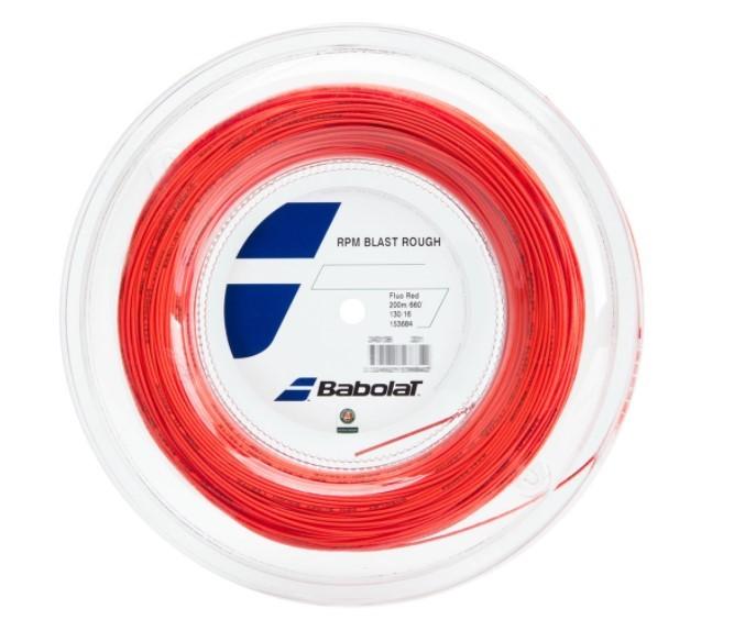 Corda Babolat RPM Blast Rough 1.30 16 Rolo 200 Metros - Vermelho e Fluor  - REAL ESPORTE