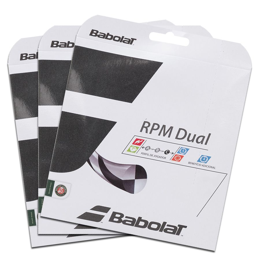 Corda Babolat RPM Dual 17 1.25MM 11.75M - Pack C/ 3 Sets  - REAL ESPORTE
