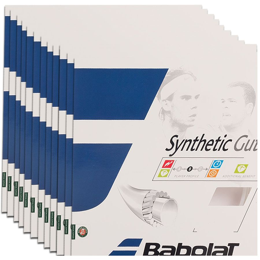 Corda Babolat Synthetic Gut 16 1.30 mm 11,75m Natural - Pack C/ 12 Sets  - REAL ESPORTE