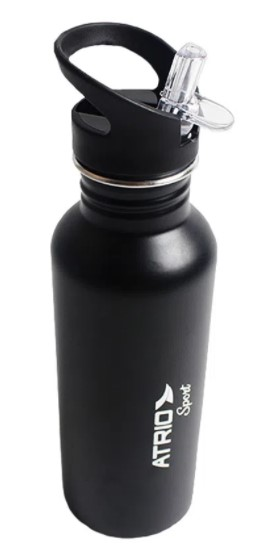 Garrafa Atrio Térmica Sport Alumínio 600ml - Preta  - REAL ESPORTE