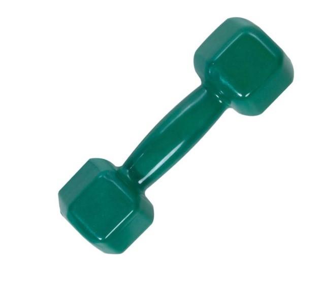 Halter Sextavado Emborrachado 2 kg - Verde  - REAL ESPORTE