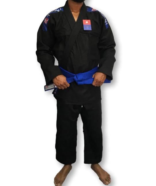 Kimono Torah Reforçado Flex Jiu Jitsu  A4 - Preto  - REAL ESPORTE