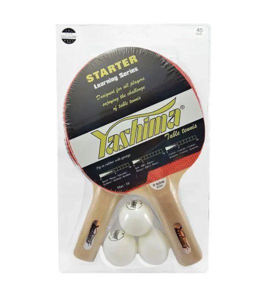 Kit Com 2 Raquete e 3 Bolinhas Suporte e Rede Yashima - 82000  - REAL ESPORTE