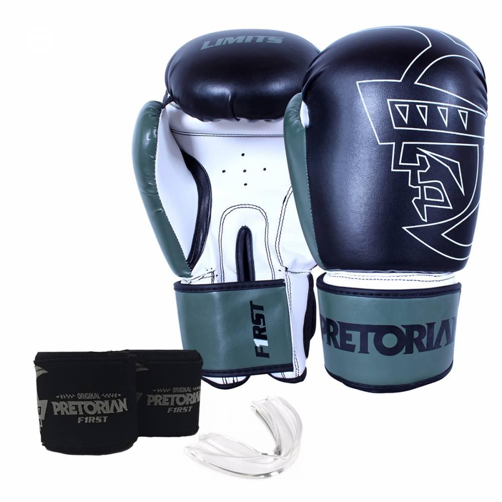 Kit Luva de Boxe/Muay Thai Pretorian First Verde + Bandagem + Protetor bucal  - REAL ESPORTE