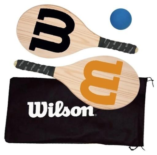 Kit Frescobol Logo Wilson 2 Raquetes + 1 Bola Original  - REAL ESPORTE
