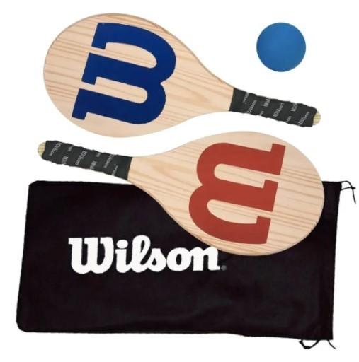 Kit de Frescobol Wilson Logo 2 Raquetes + 1 Bola Original  - REAL ESPORTE