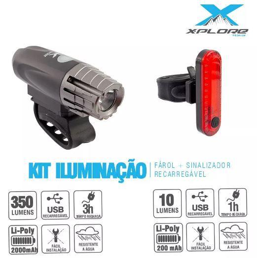 Kit Iluminção Farol e Sinalizador Traseiro Usb X-Plore  - REAL ESPORTE