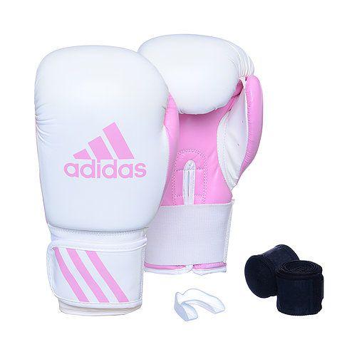 Kit Luva Boxe Adidas Response Branco/Rosa com Bandagem e Bucal Simples  - REAL ESPORTE