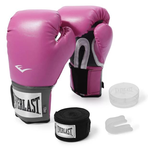 Kit Luva de Boxe Everlast Training Rosa + Bandagem + Protetor bucal   - REAL ESPORTE