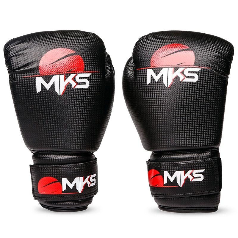 Kit Luva de Boxe MKS Preto + Bandagem + Protetor bucal   - REAL ESPORTE