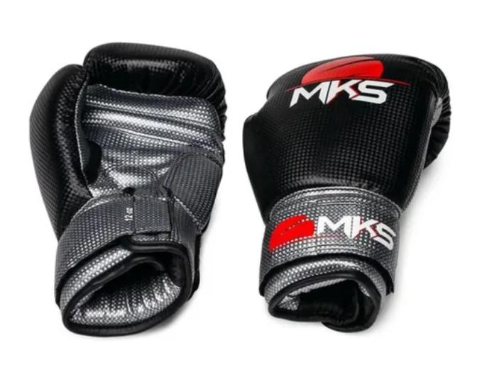 Kit Luva de Boxe MKS Preto Prata + Bandagem + Protetor bucal   - REAL ESPORTE