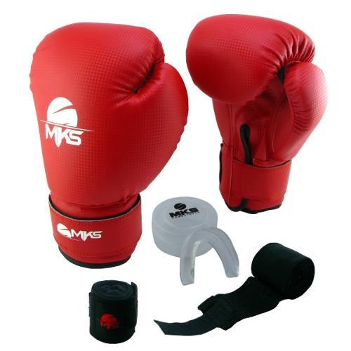 Kit Luva de Boxe MKS Vermelha + Bandagem + Protetor bucal   - REAL ESPORTE