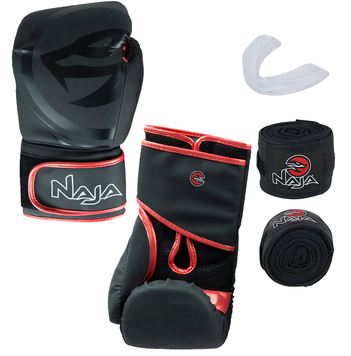 Kit Luva de Boxe Naja Black + Protetor Bucal + Bandagem - Preta/Vermelha  - REAL ESPORTE