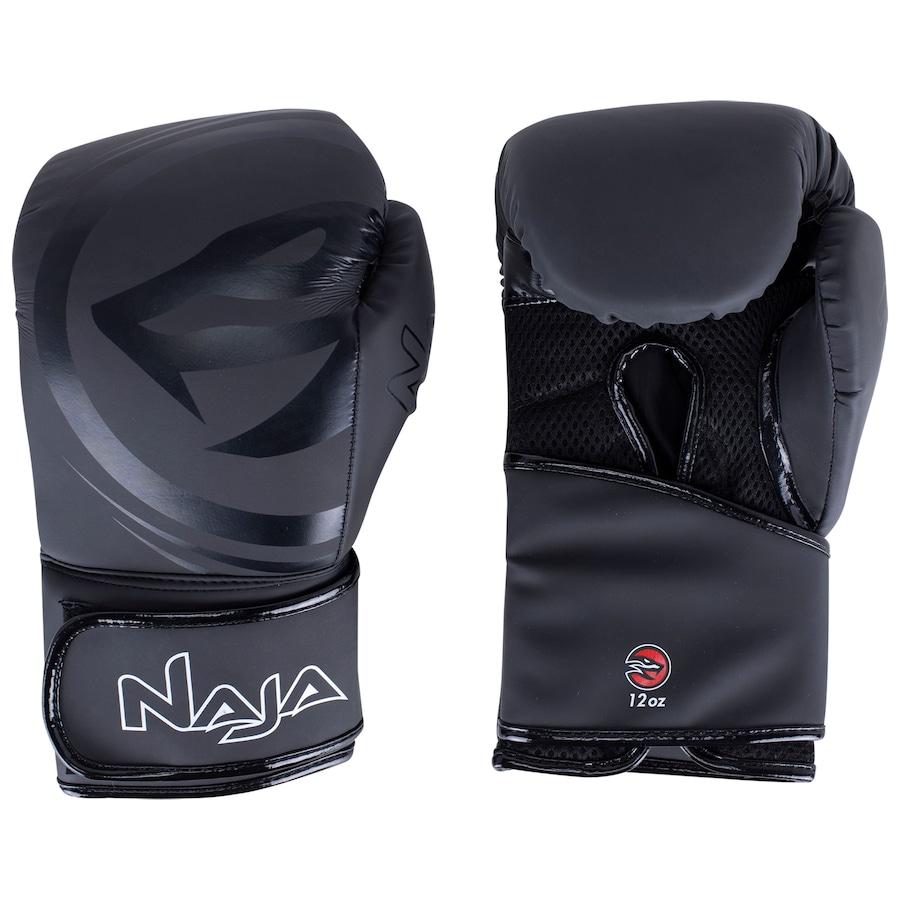Kit Luva de Boxe Naja Black + Protetor Bucal + Bandagem - Preta   - REAL ESPORTE