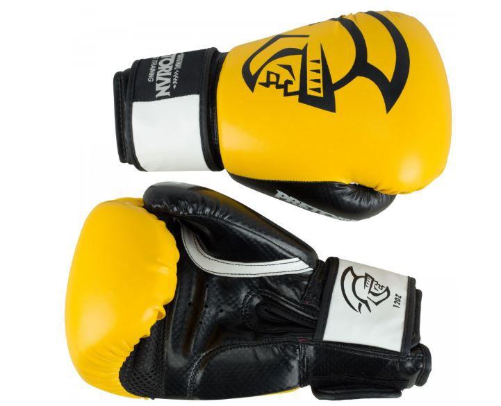 Kit Luva de Boxe/Muay Thai Pretorian Elite  Preto/ Amarelo + Bandagem + Protetor bucal   - REAL ESPORTE