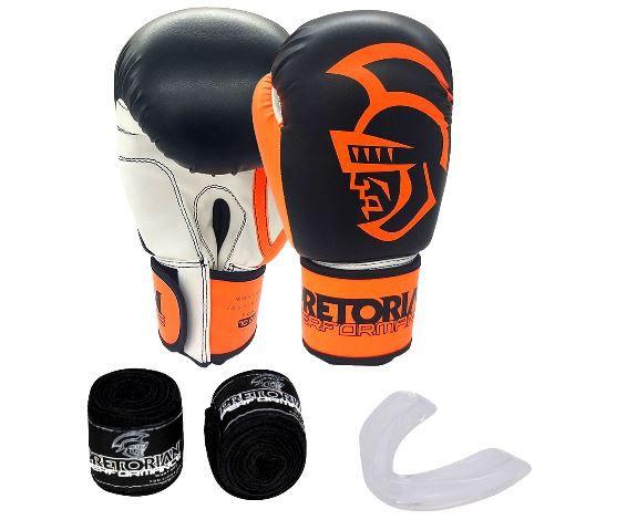 Kit Luva de Boxe/Muay Thai Pretorian Performance  Preto e Laranja + Bandagem + Protetor bucal   - REAL ESPORTE
