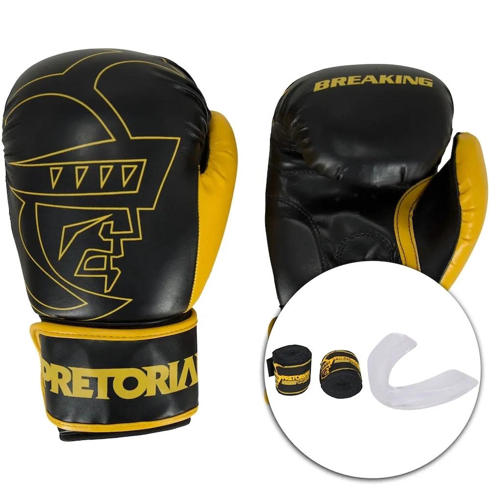 Kit Luva de Boxe Pretorian Preto e Amarelo  + Bandagem + Protetor bucal   - REAL ESPORTE