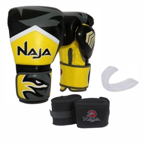 Kit Luva Muay Thai Boxe Naja New Extreme Amarelo + Band + Bucal   - REAL ESPORTE