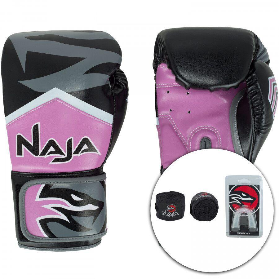 Kit Luva Muay Thai Boxe Naja New Extreme Rosa + Band + Bucal  - REAL ESPORTE