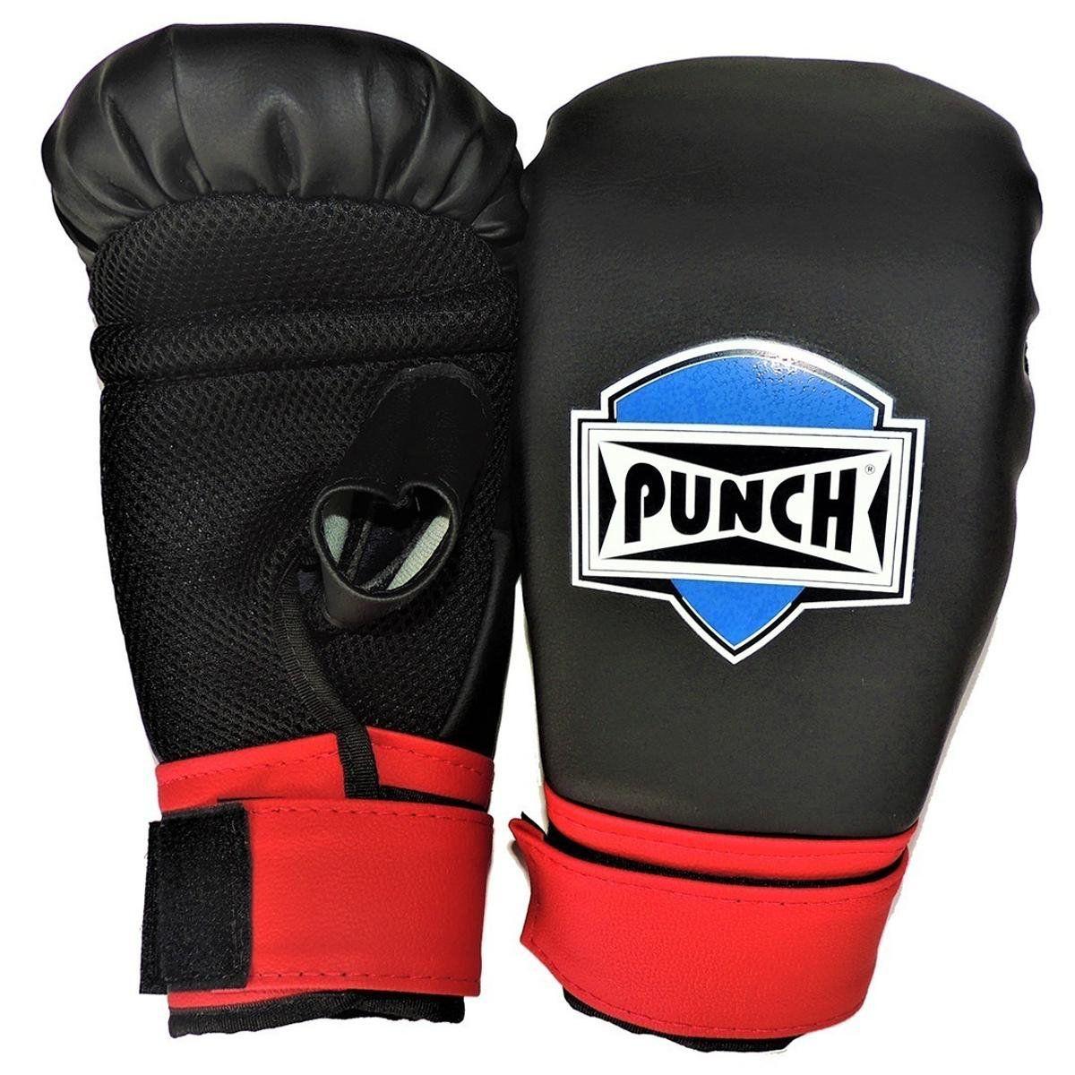 Luva Bate Saco Velcro  Punch - Preto e Vermelho  - REAL ESPORTE