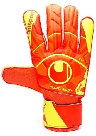 Luva de Goleiro Futebol Uhlsport Dynamic Impulse Starter Soft - Laranja/Amarelo  - REAL ESPORTE
