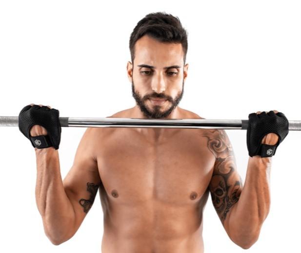 Luva de Musculação NC Polegar Em Neoprene - Preta  - REAL ESPORTE