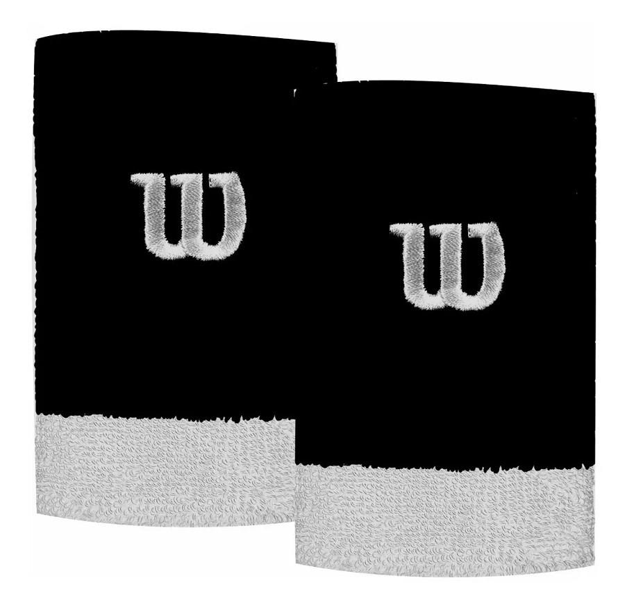 Munhequeira Wilson W Color Preto e Branco 2 Unidades  - REAL ESPORTE