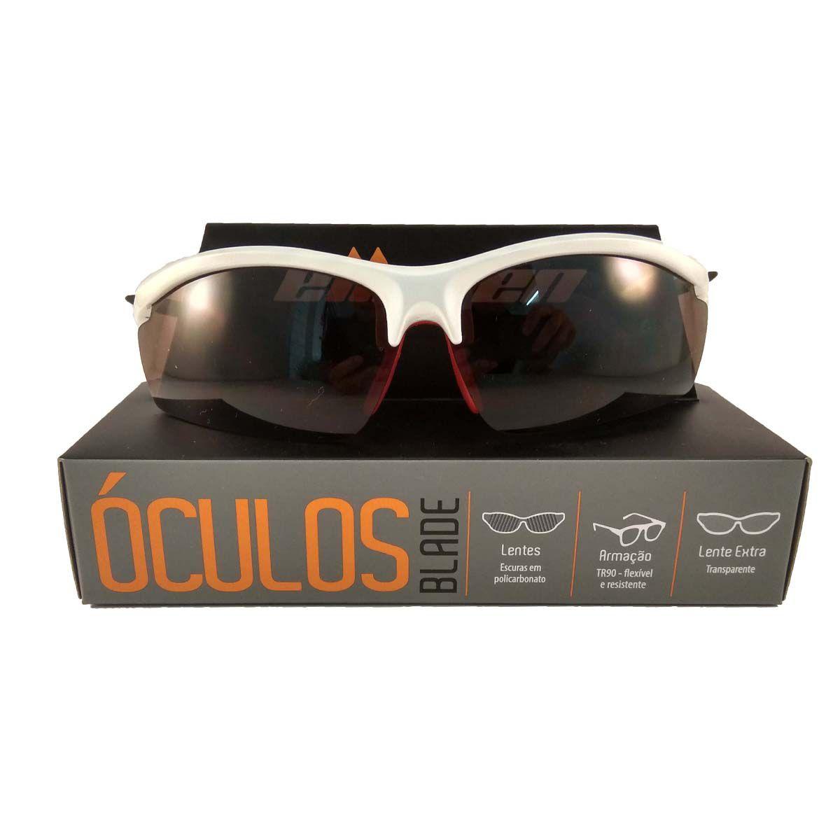 Óculos Ciclista Blade Branco / Vermelho C/Lentes Escuras   - REAL ESPORTE